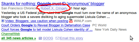 Google News search result showing Author Name