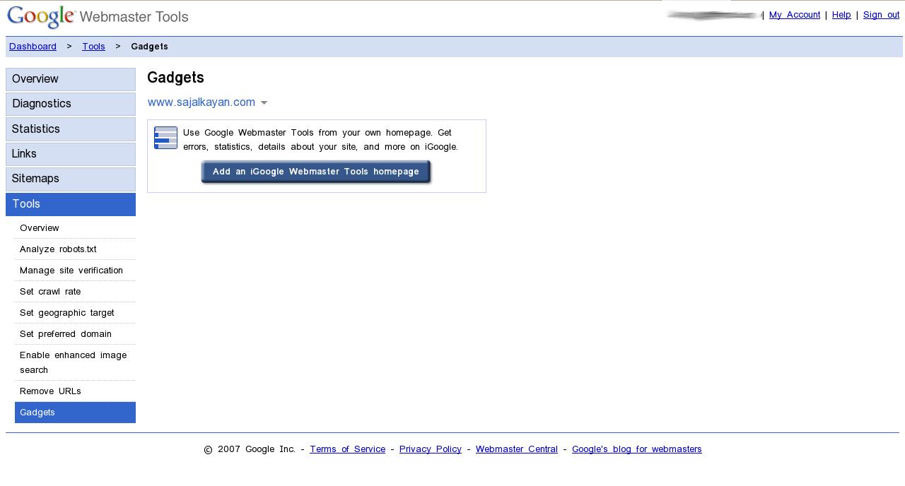 google webmaster tools now on igoogle homepage sajal kayan