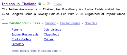 Google Sitelinks on Thaindian.com